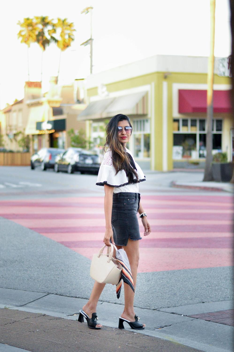 black-denim-white-crochet-lace-preppy-mules-blogger-style 3