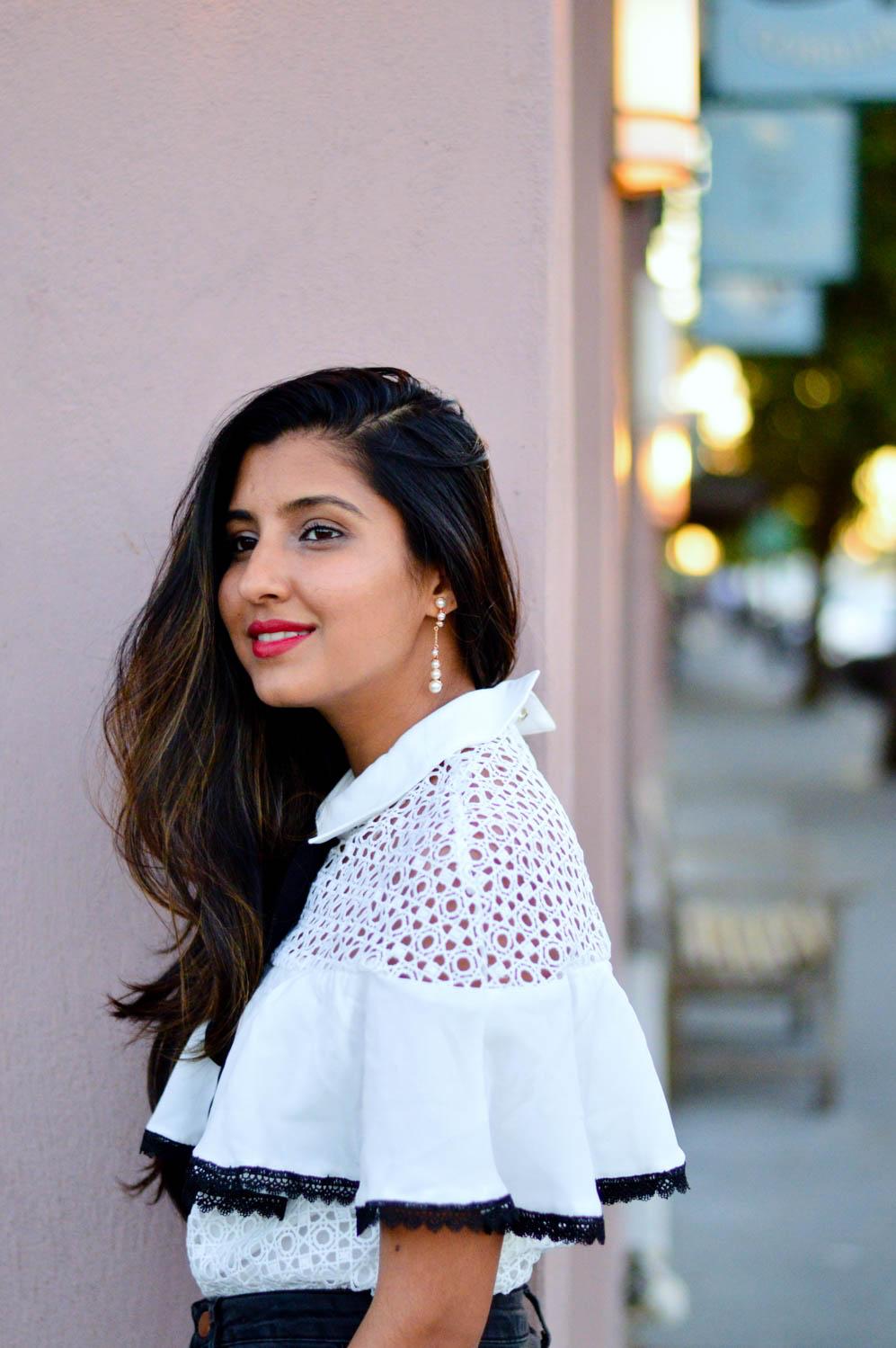 black-denim-white-crochet-pearl-earrings-blogger-style 4