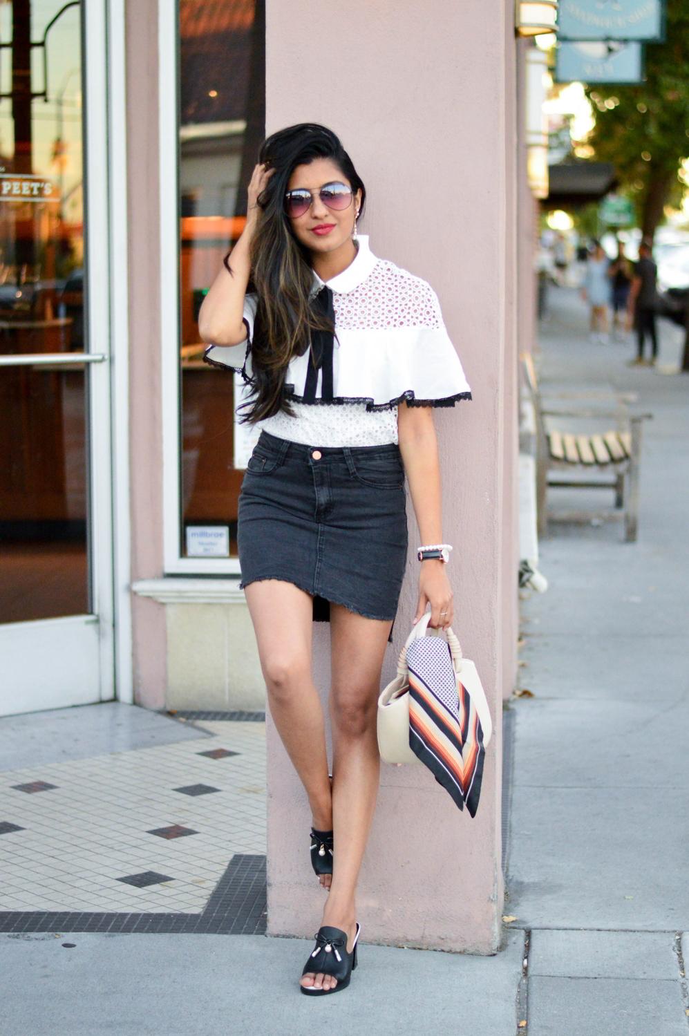black-denim-white-crochet-lace-preppy-mules-blogger-style 5