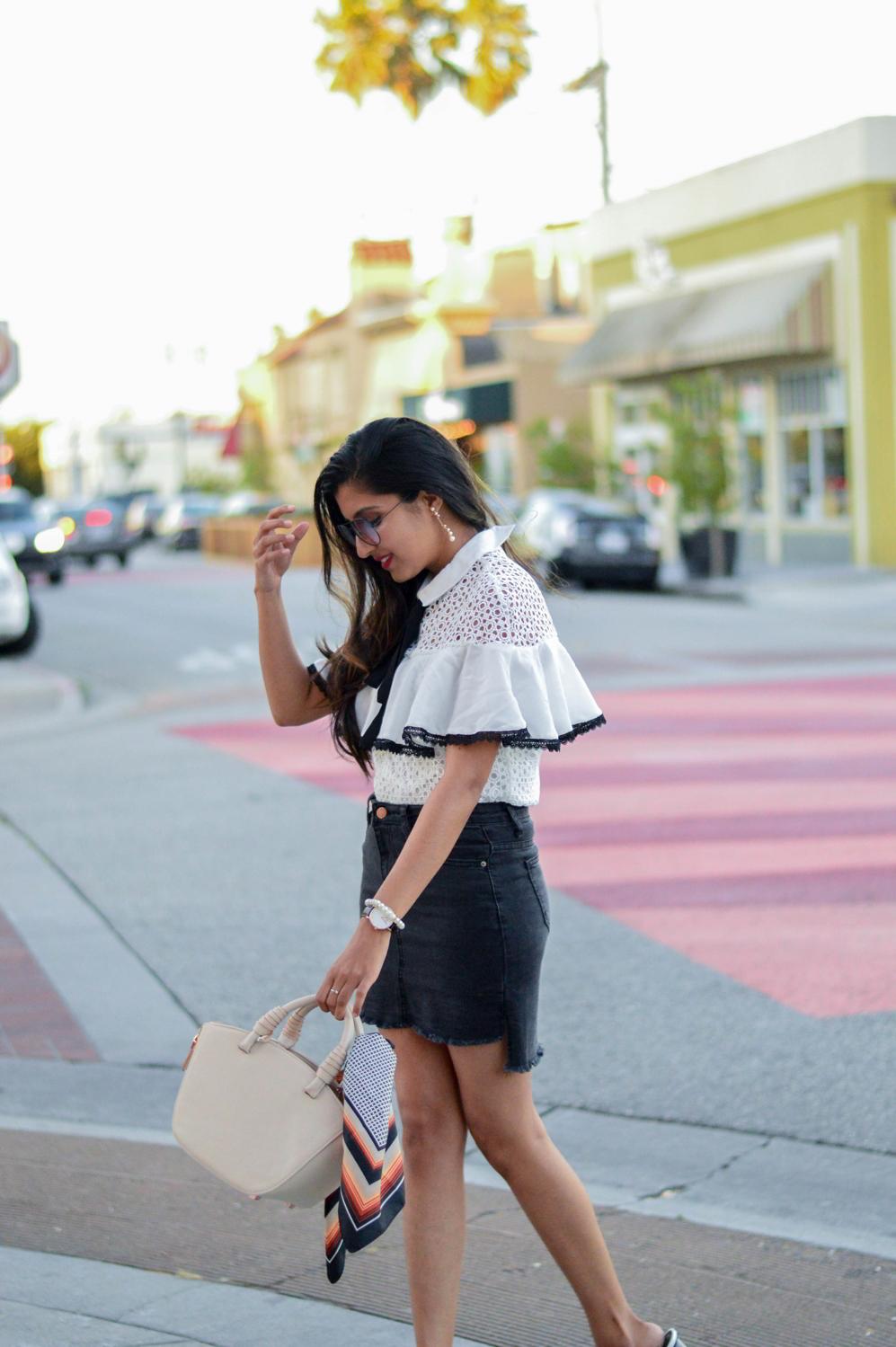 black-denim-white-crochet-lace-preppy-mules-blogger-style 6