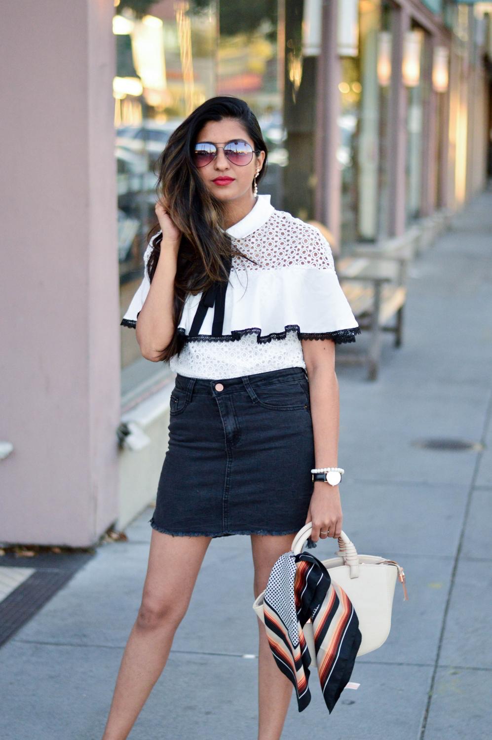 black-denim-white-crochet-lace-preppy-mules-blogger-style 7