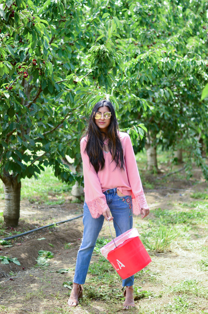 bell-sleeves-pink-blouse-embroidered-denim-cherry-picking-brentwood-california 1