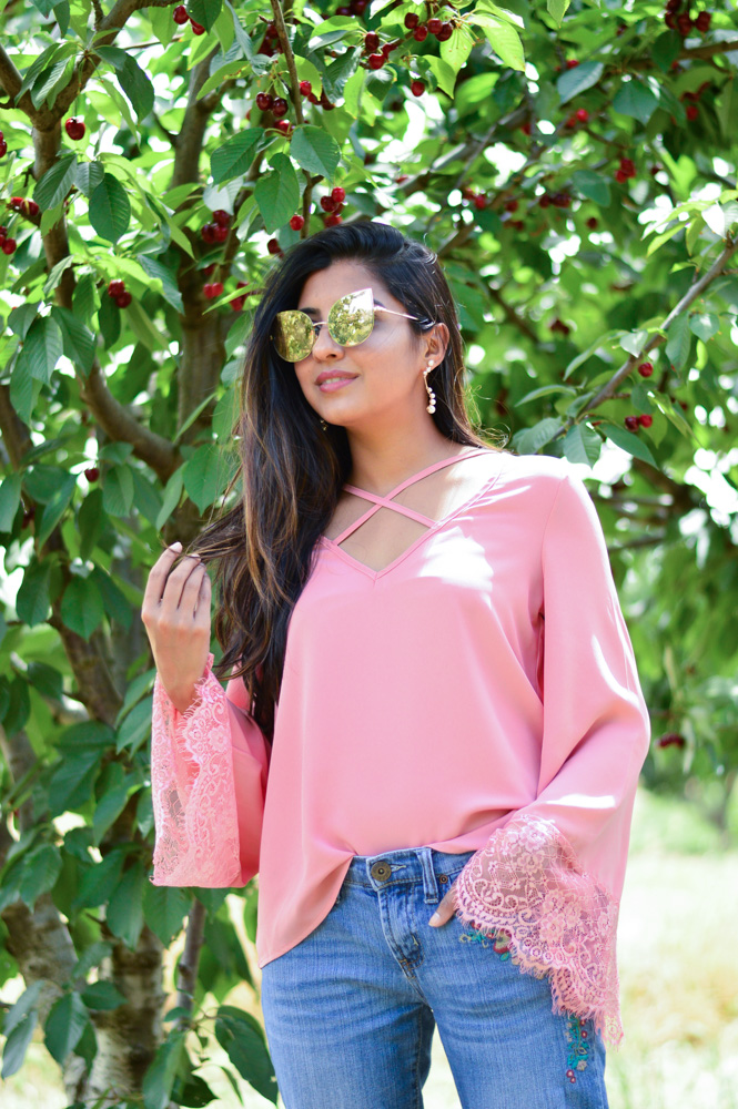 bell-sleeves-pink-blouse-embroidered-denim-cherry-picking-brentwood-california-blogger-outfit 2