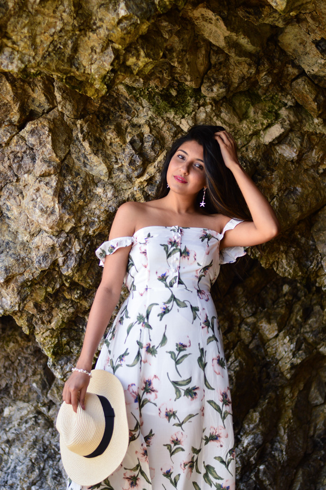 floral-maxi-off-the-shoulder-dress-summer-fashion-what-wear-beach-day 2
