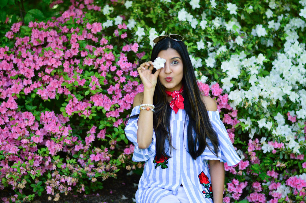 central-park-summer-style-what-wore-travel-outfit-off-the-shoulder-stripes-embroidered-blogger-outfit 11