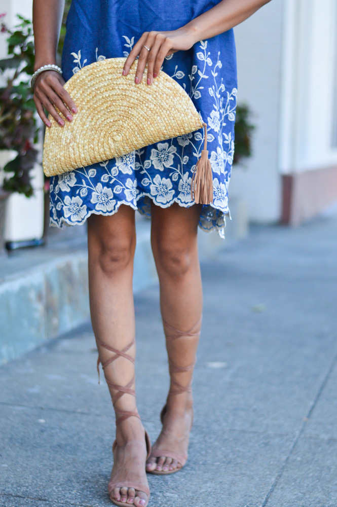 embroidered-denim-dress-laceup-sandals-summer-style-blogger-outfit 4