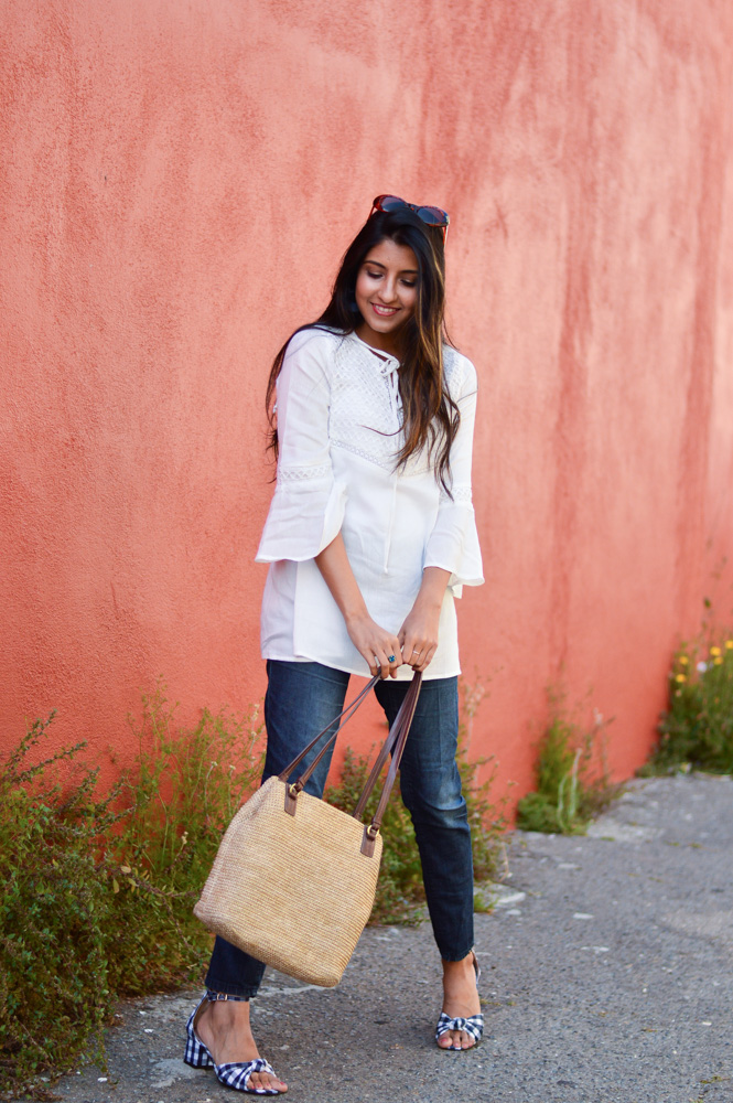 white-bell-sleeves-blouse-blue-denim-gingham-shoes-blogger-outfit 1