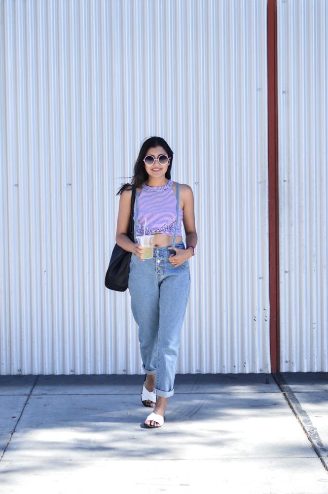 summer-weekend-fashion-blogger-denim-suspenders-striped-crop-top 3