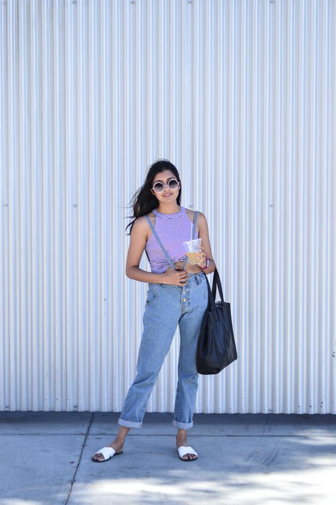 summer-weekend-casual-uniform-denim-suspenders-striped-crop-top 5