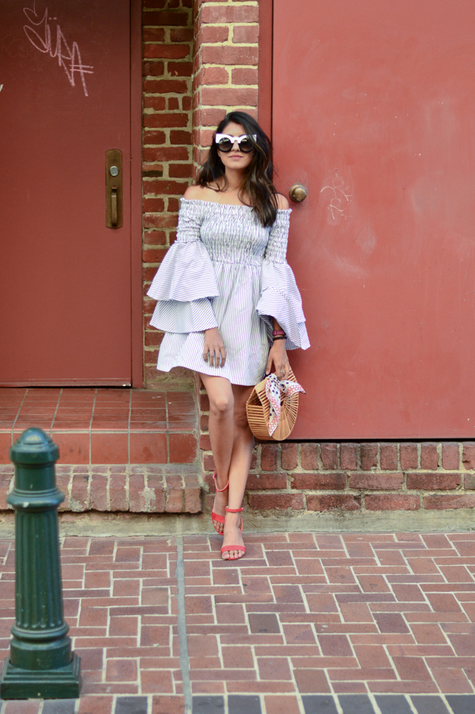 bell-sleeves-ruffles-stripes-dress-black-and-white-summer-style-blogger-outfit 1