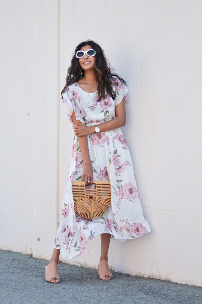 floral-maxi-dress-neutral-mules-bamboo-ark-bag-retro-sunnies 1
