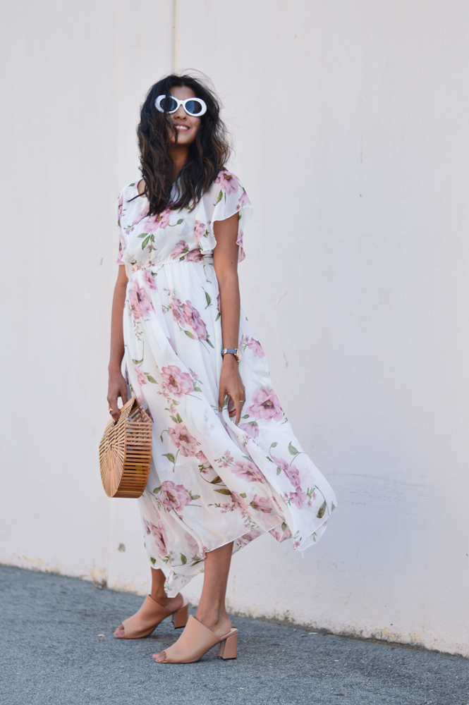 floral-maxi-dress-neutral-mules-bamboo-ark-bag-retro-sunnies 6