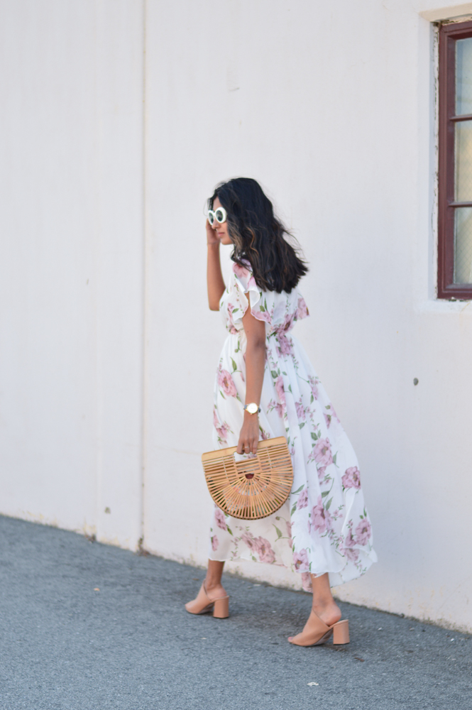 floral-maxi-dress-neutral-mules-bamboo-ark-bag-retro-sunnies 8