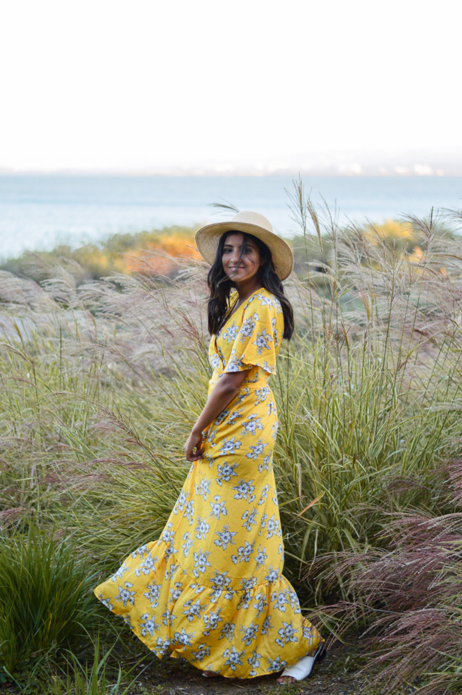 yellow-floral-maxi-dress-summer-style-golden-hour 3