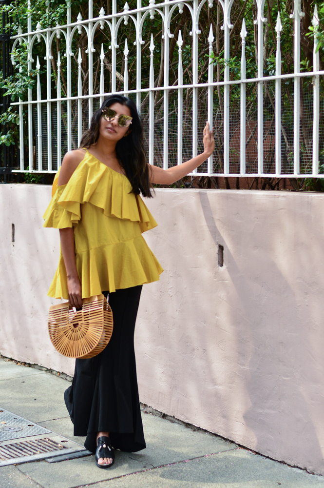 ruffles-mustard-yellow-fall-style-cold-shoulder-top-blogger-outfit 5