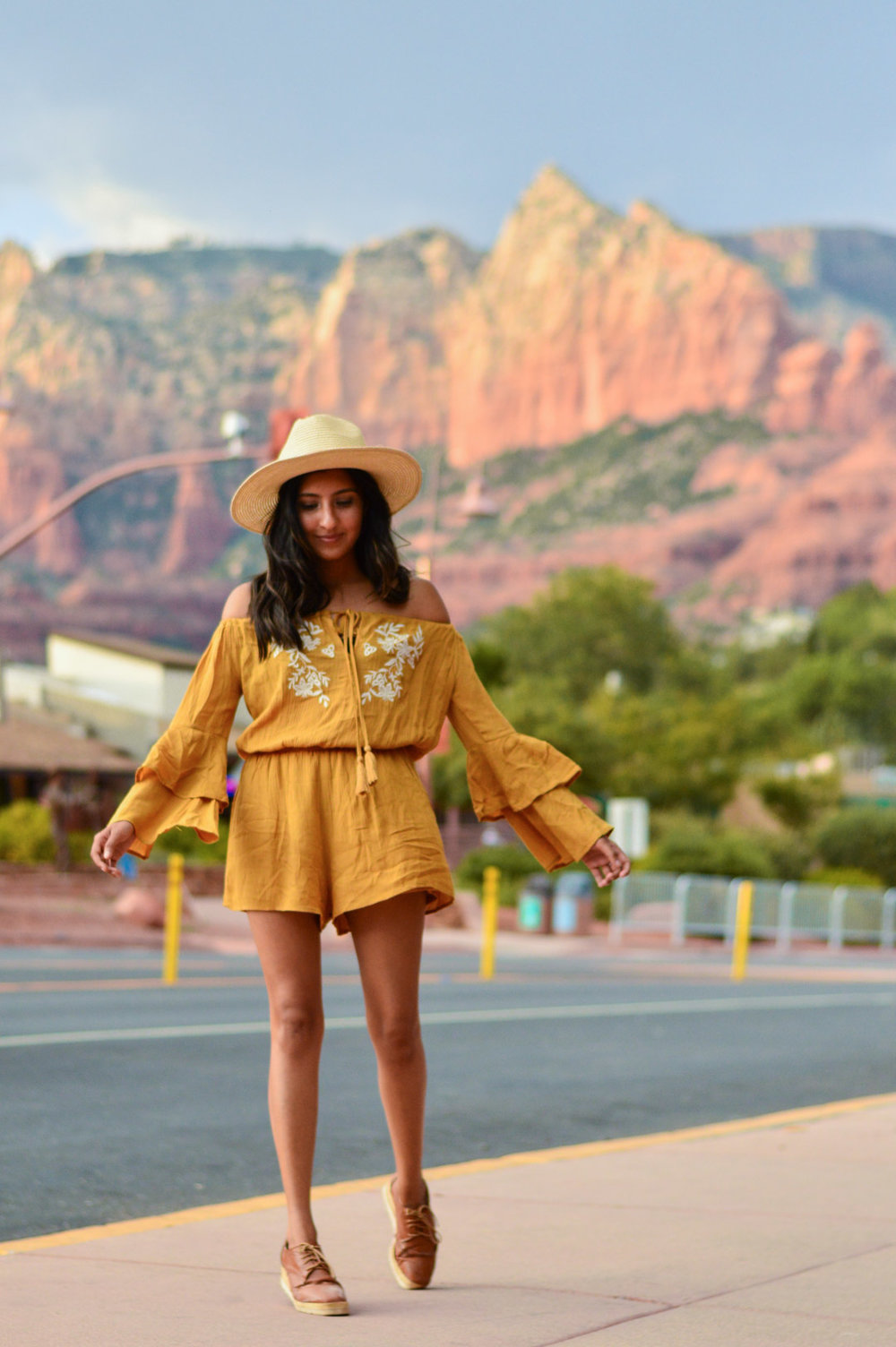 sedona-arizona-mustard-yellow-marigold-romper-travel-blogger-outfit 8