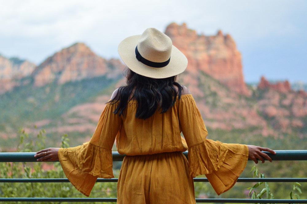 sedona-arizona-mustard-yellow-marigold-romper-travel-blogger-outfit 10