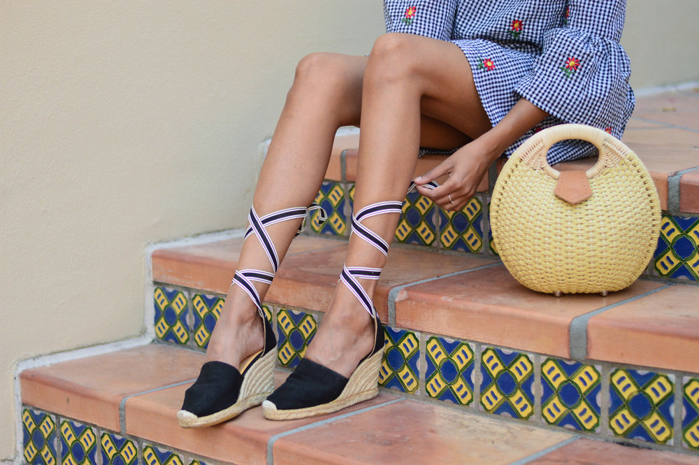 gingham-embroidered-dress-summer-trends-fashion-blogger-espadrilles-wicker-bag 4