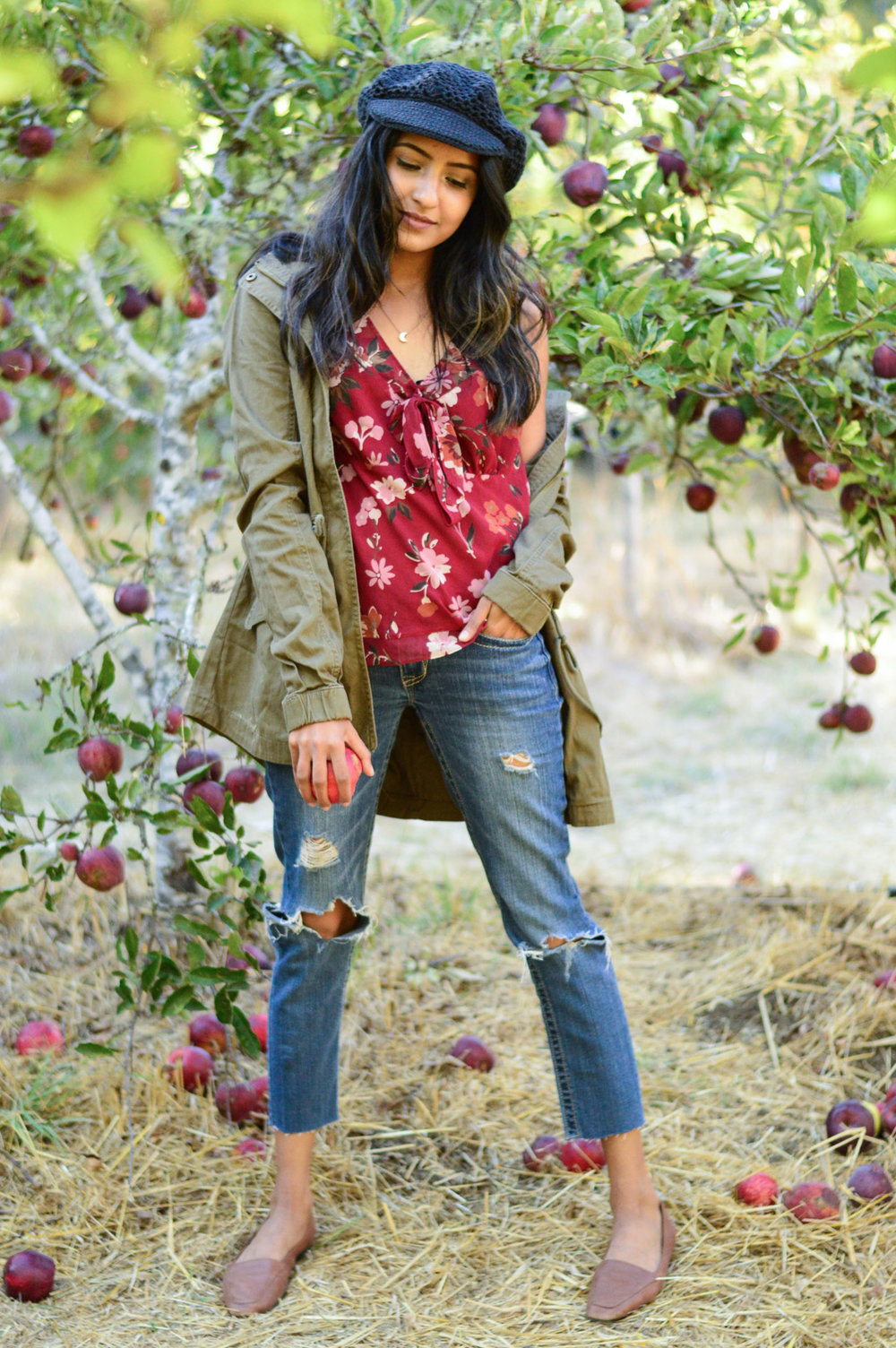 apple-picking-fall-florals-utility-jacket-california-fashion 3