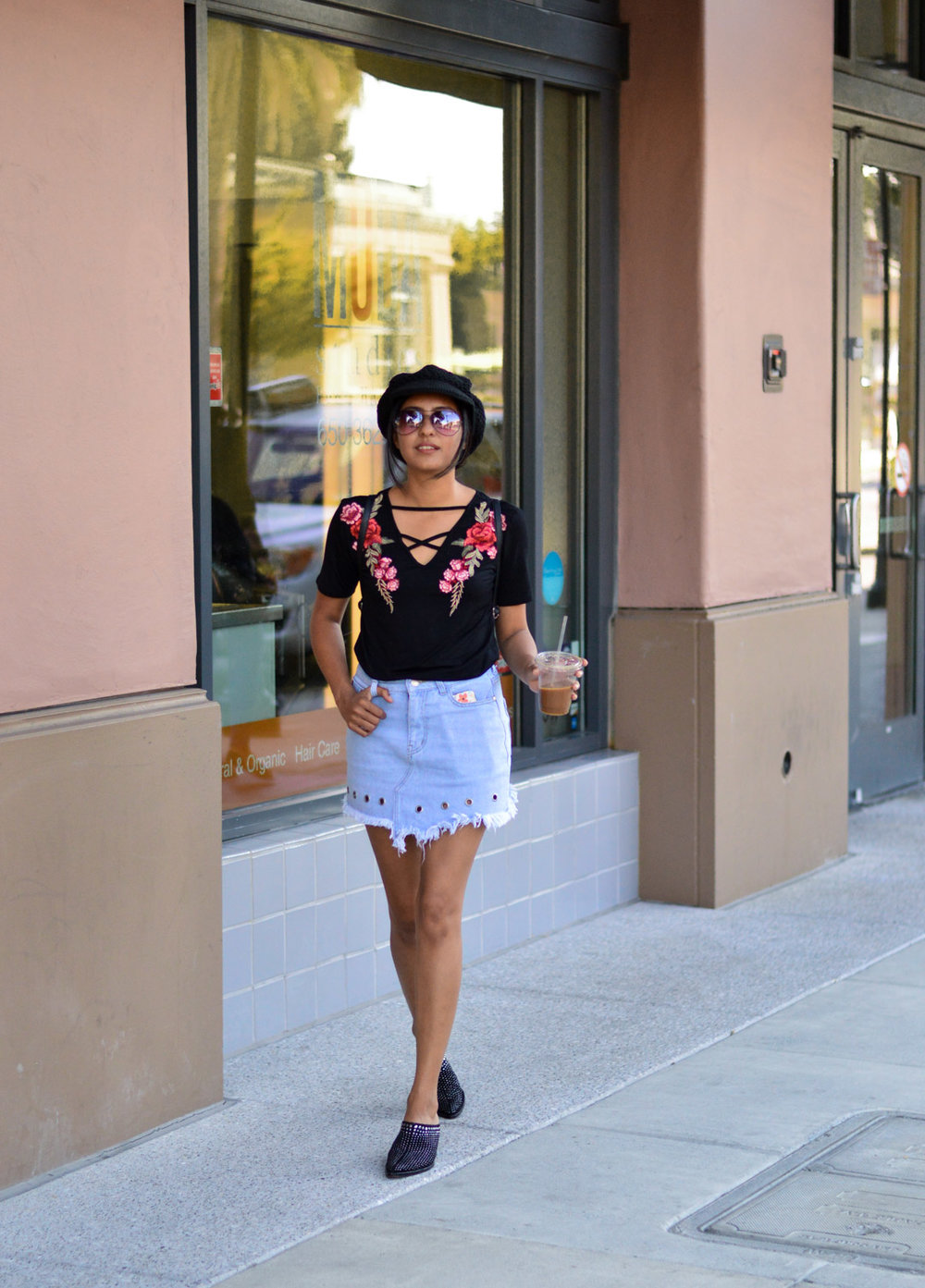 blogger-fashion-outfit-denim-skirt-black-tee-studded-booties 3