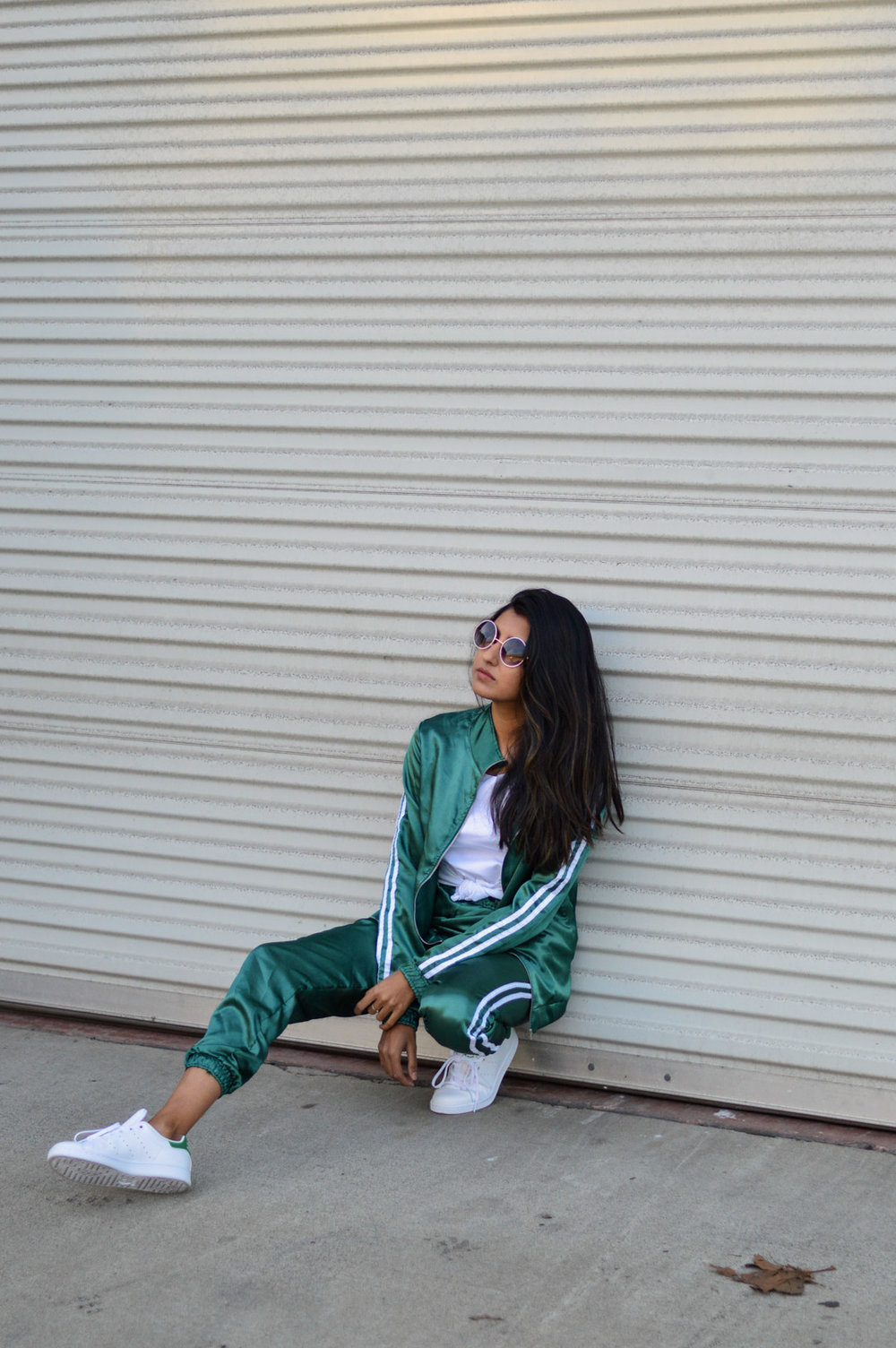 tracksuit-satin-green-sporty-chic-black-friday-Romwe 3