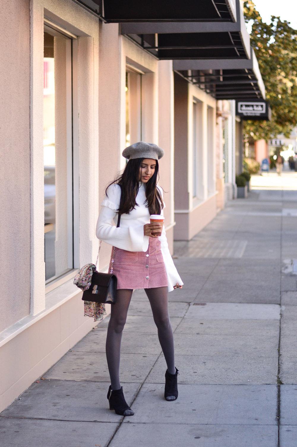 corduroy-skirt-pink-beret-fall-style 1