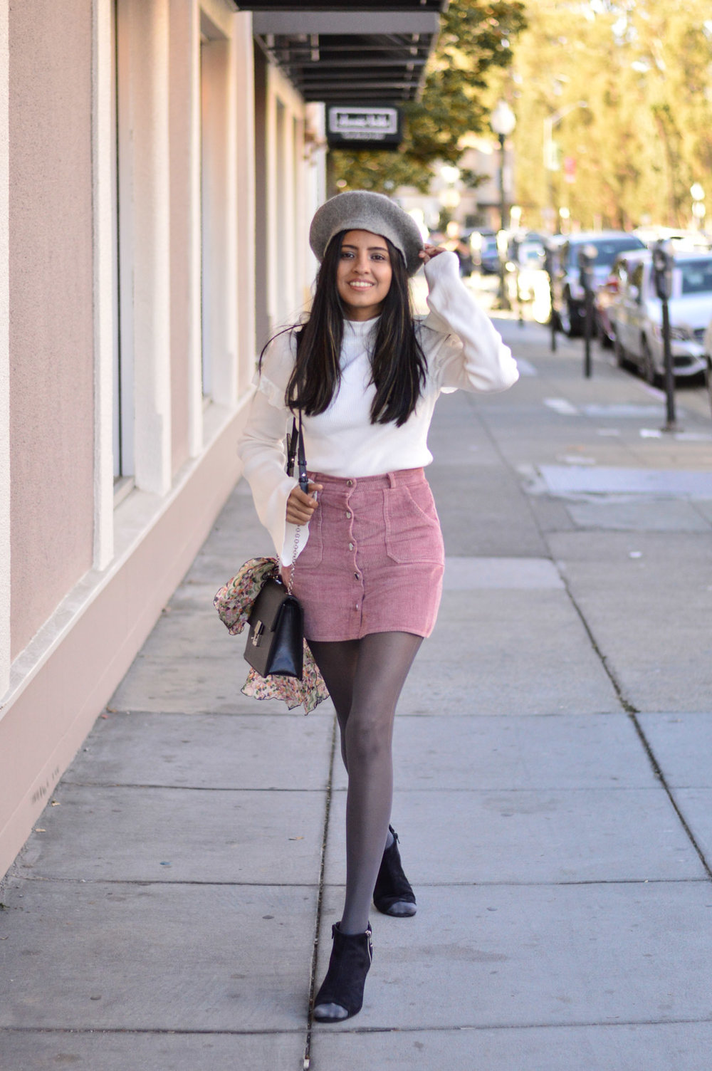 corduroy-skirt-pink-beret-fall-fashion-blogger 3