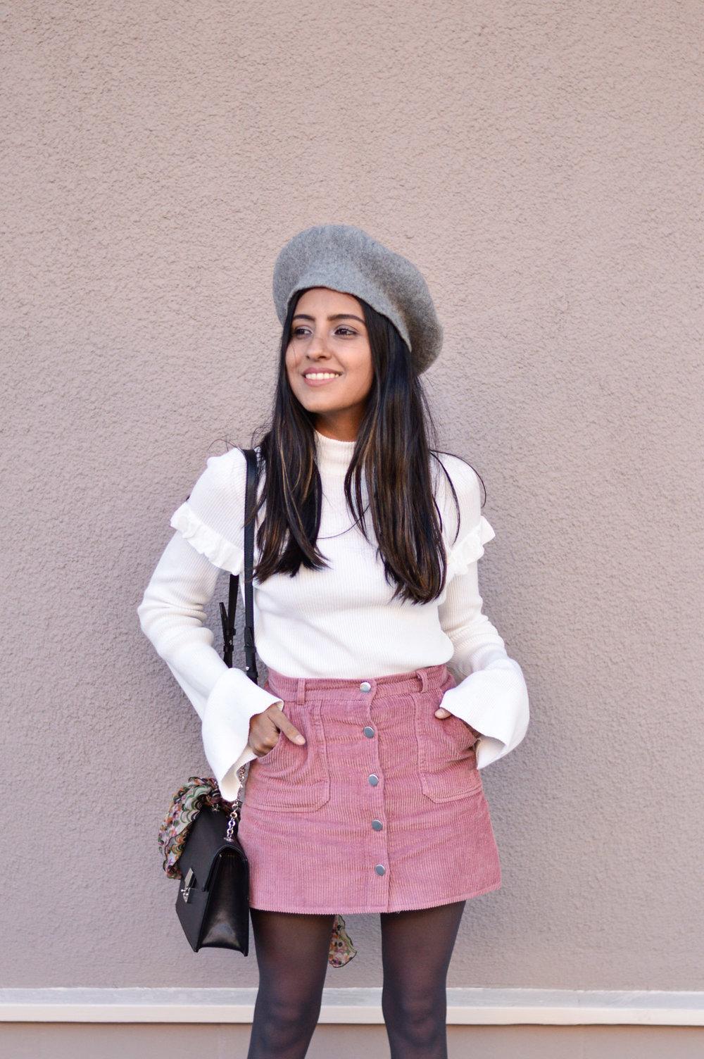 corduroy-skirt-pink-beret-fall-fashion-blogger 6