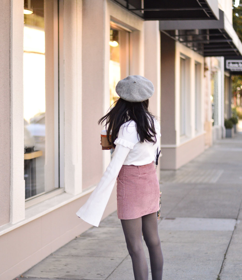 corduroy-skirt-pink-beret-fall-fashion-bell-sleeves-sweater 9