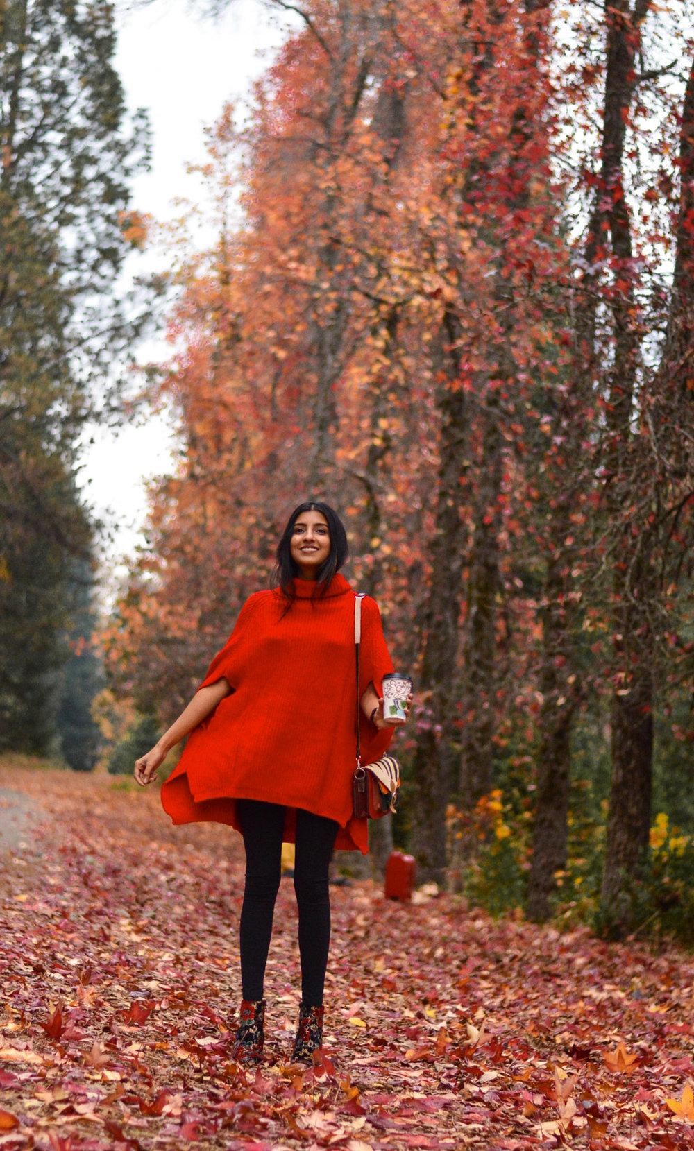 red-cape-sweater-fall-fashion-apple-hill-california 1