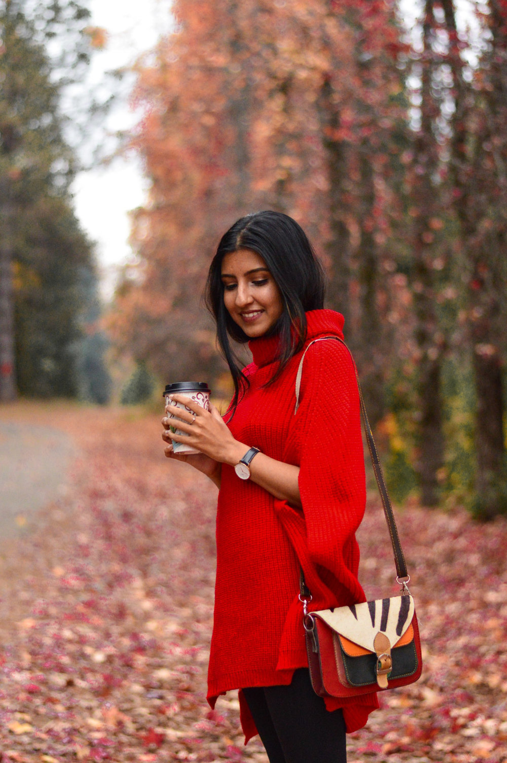 red-cape-sweater-style-blogger-apple-hill-california 2