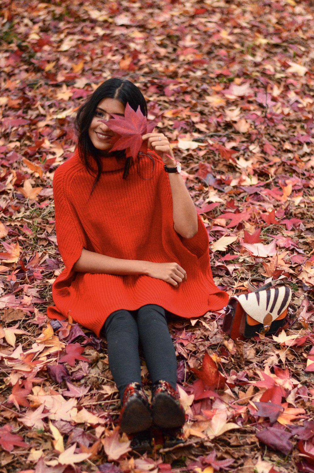red-cape-sweater-fall-leaves-apple-hill-california 3