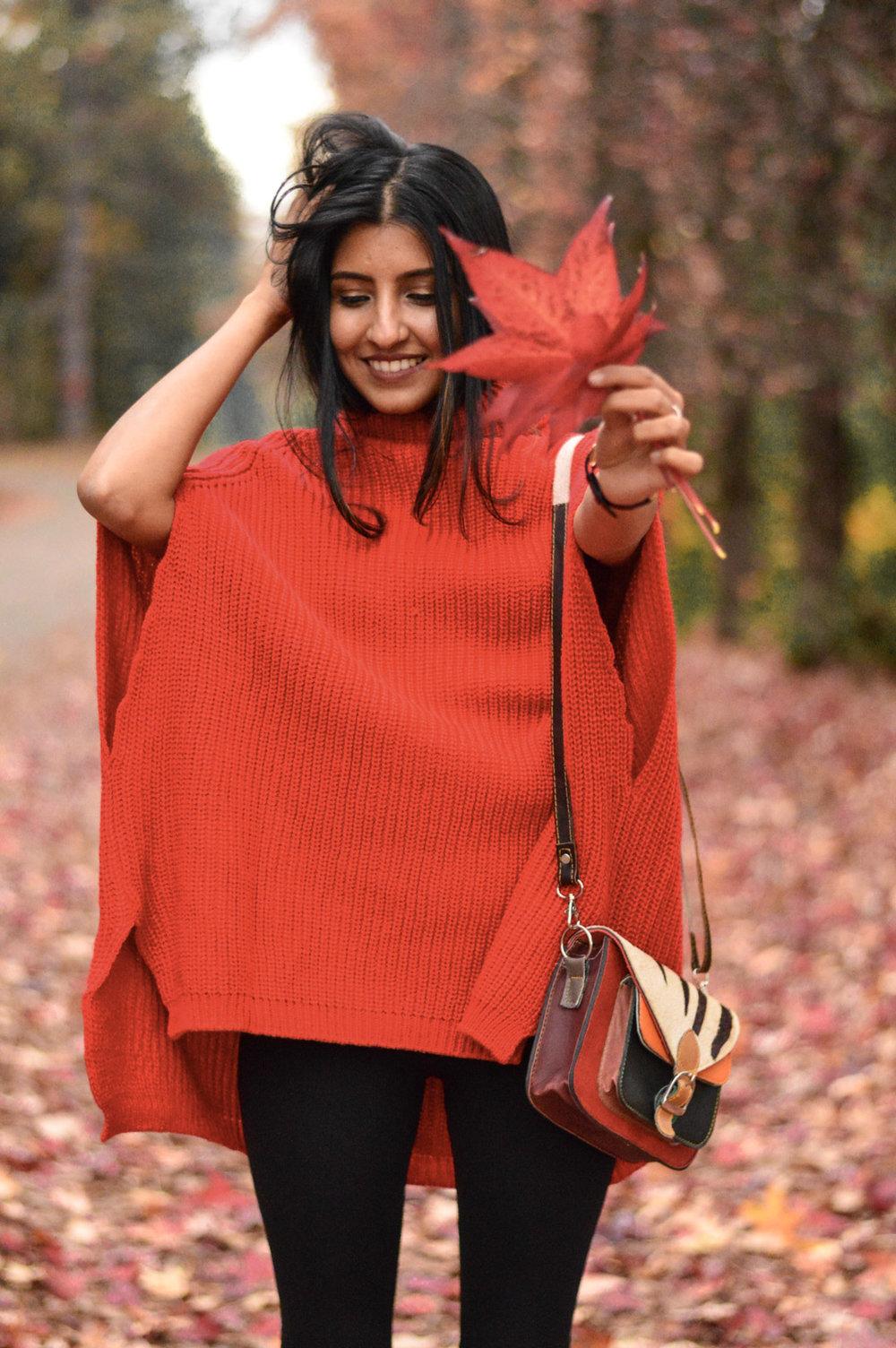 red-cape-sweater-fall-fashion-apple-hill-california 11