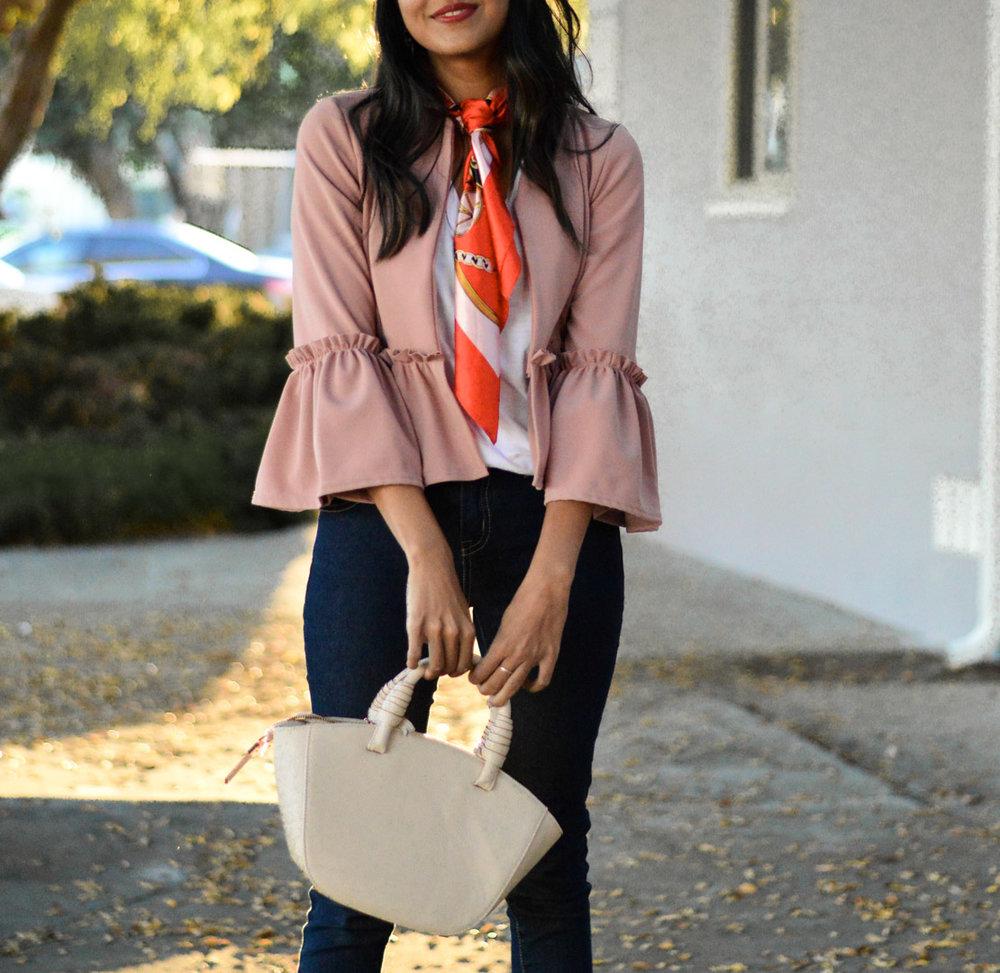 ruffles-silk-scarf-necktie-pink-red-blogger 4
