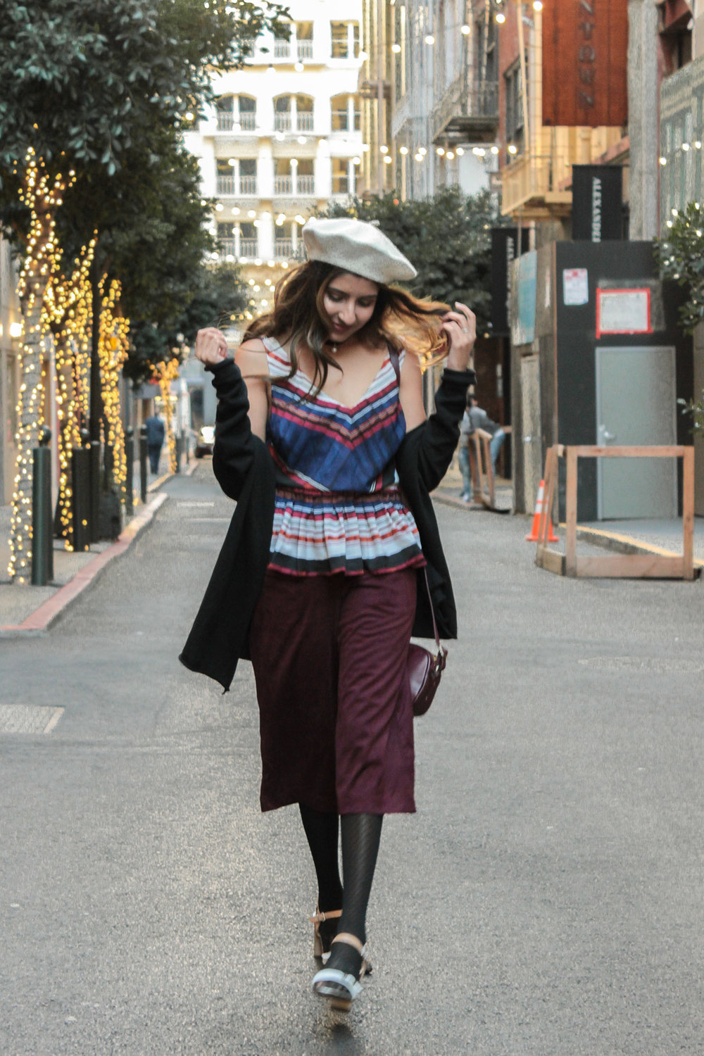 beret-stripes-peplum-culottes-outfit-style 3