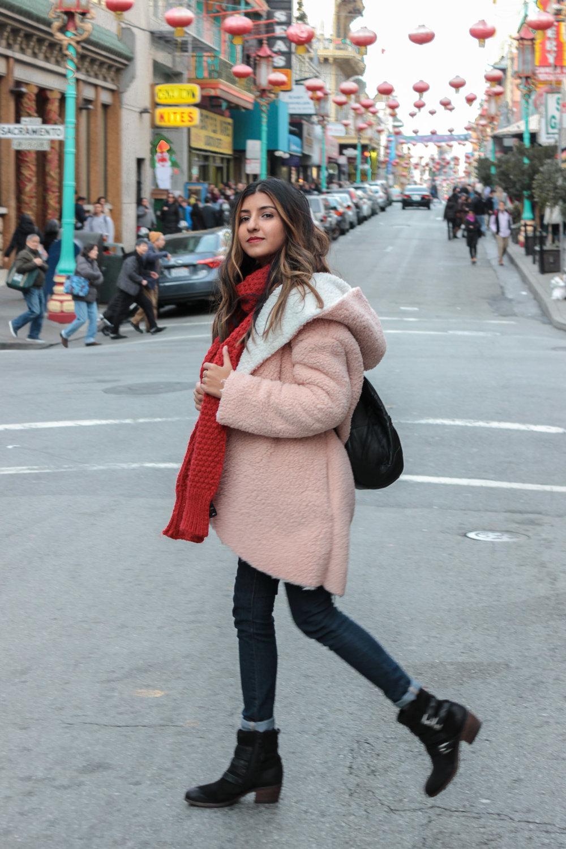 pink-teddy-coat-chinatown-san-francisco-blogger 7