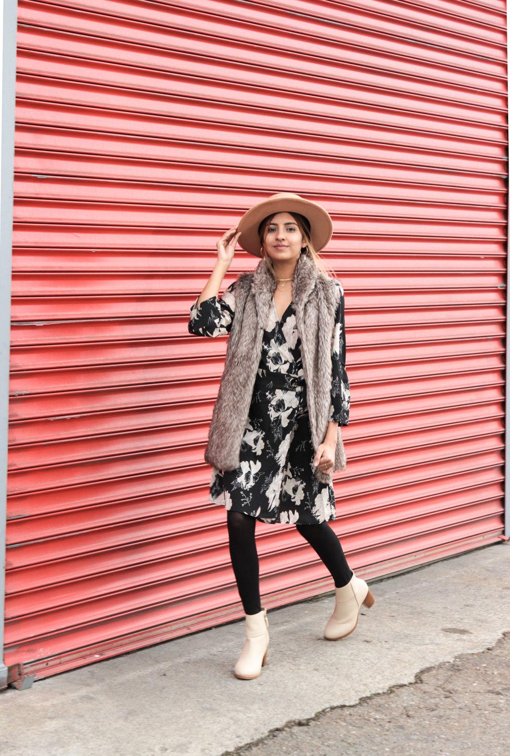 winter-florals-wrap-dress-faux-fur-vest-neutrals 1
