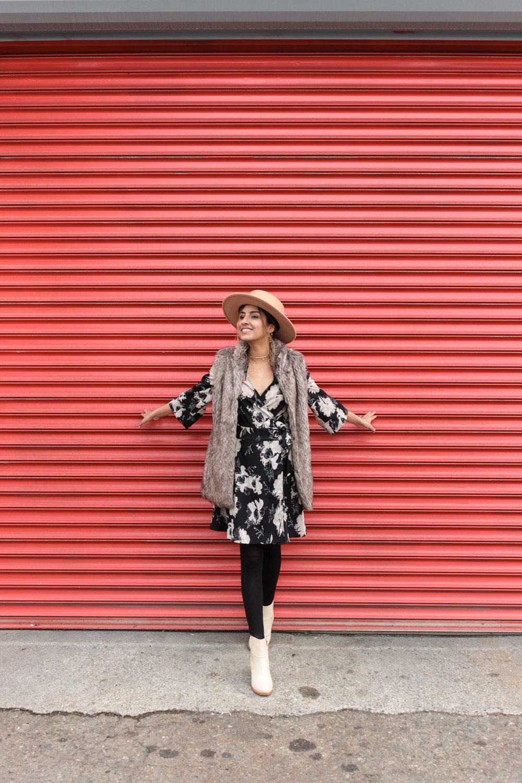 winter-florals-wrap-dress-faux-fur-vest-neutrals 3