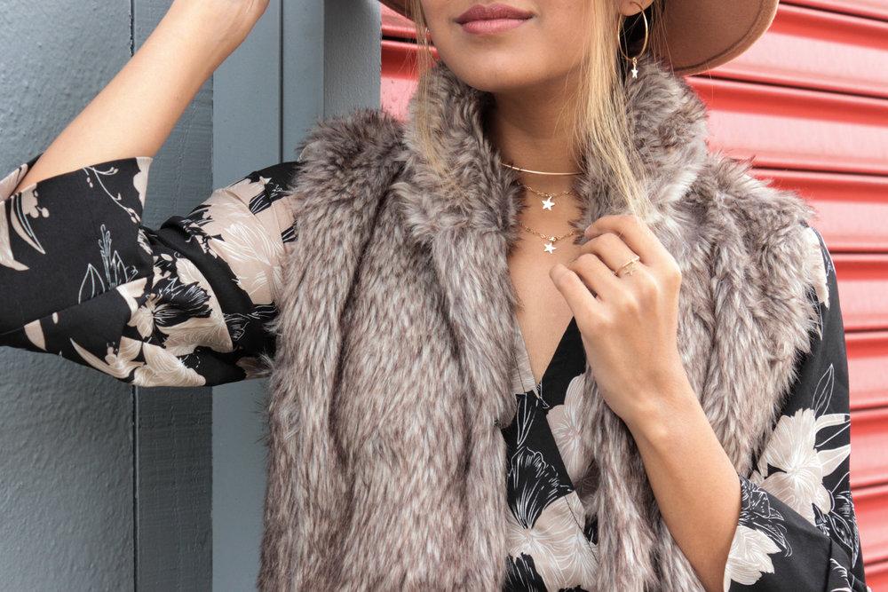 winter-florals-wrap-dress-faux-fur-vest-neutrals 4