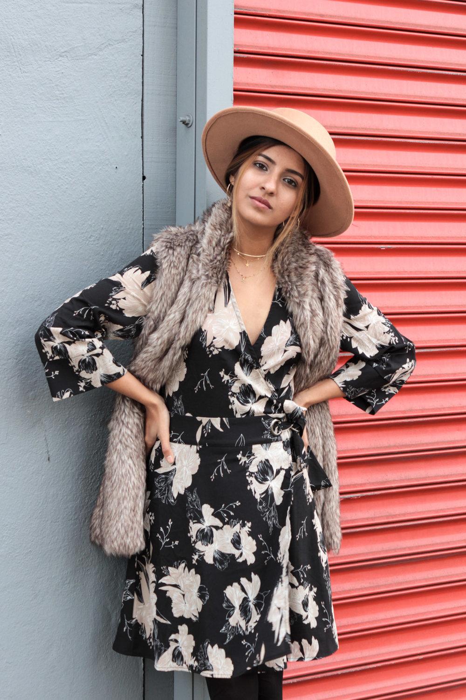 winter-florals-wrap-dress-faux-fur-vest-neutrals 5