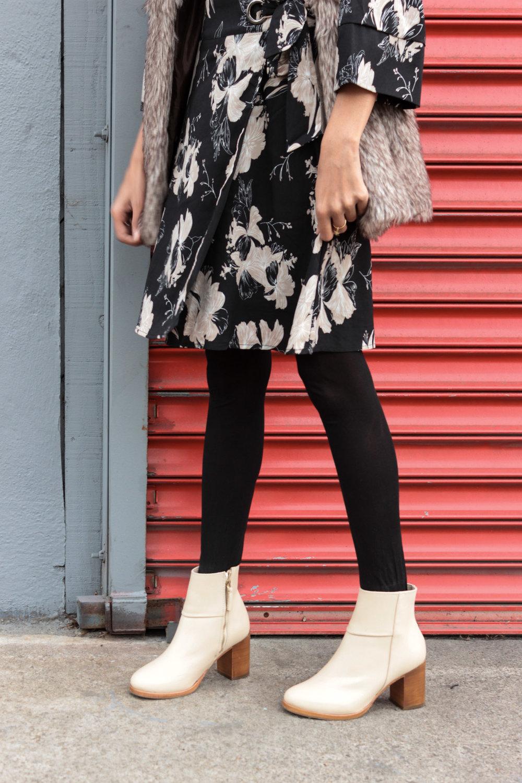 winter-florals-wrap-dress-faux-fur-vest-neutrals 7