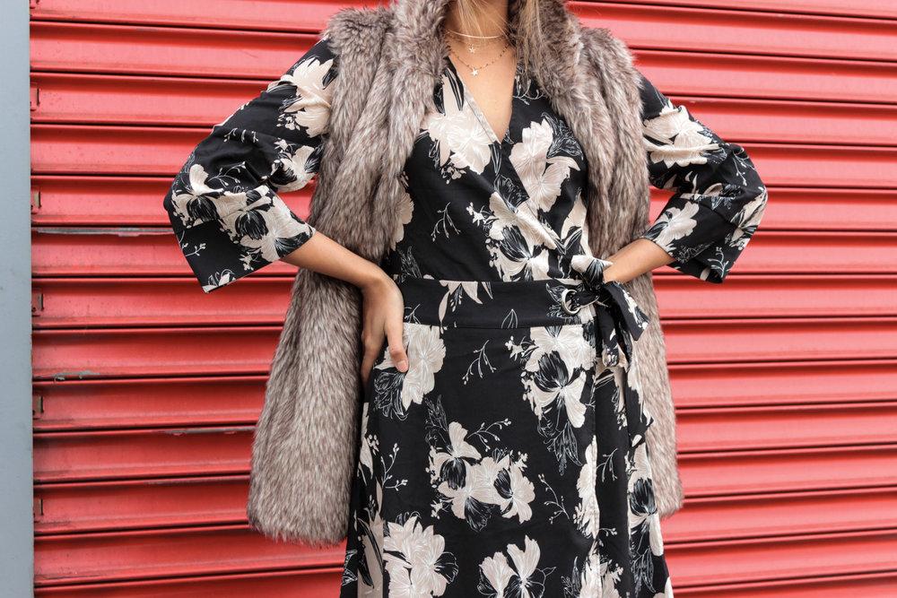 winter-florals-wrap-dress-faux-fur-vest-neutrals 8