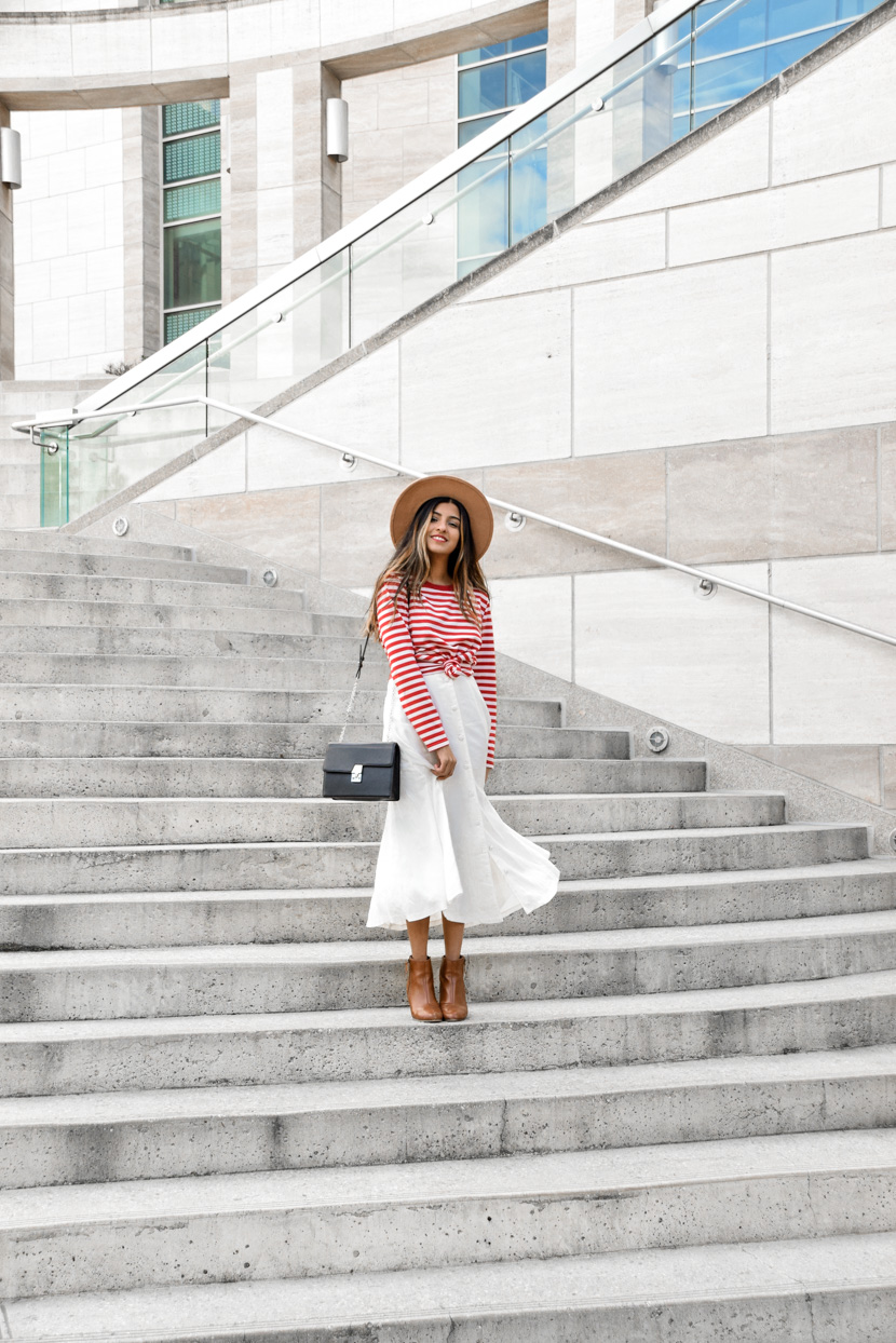 striped-tee-midi-skirt-spring-style-essentials 1