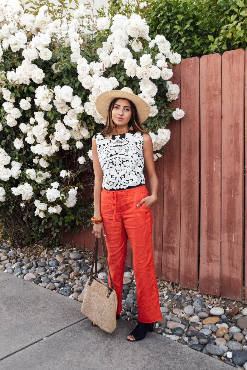 embroidered-crop-top-red-pants 7