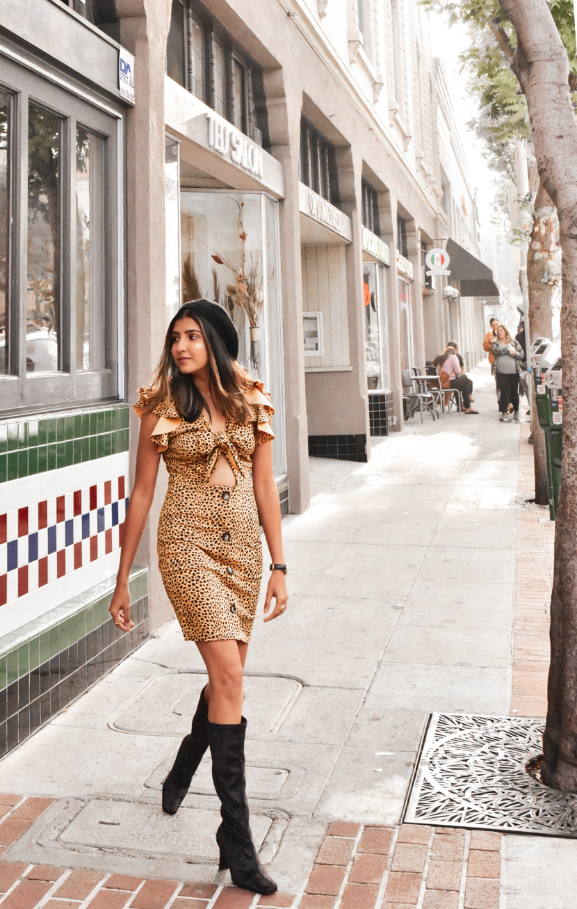 dress: c/o  femme luxe , beret: old (similar  here ), boots: thrifted (similar  here )