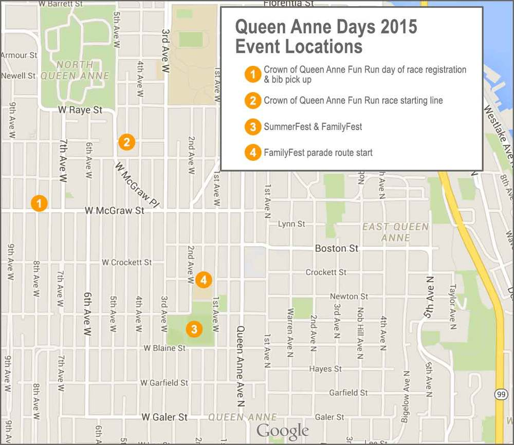 Queen Anne Days map of events