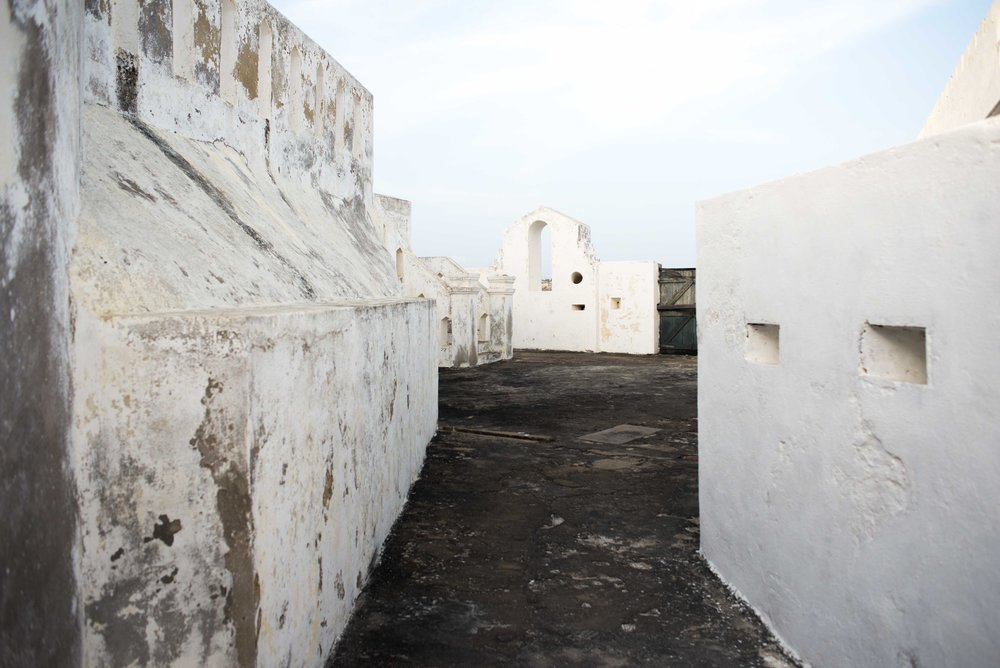 The fort overlooks the sea with tunnels to the bay through which slaves were shuttled into boats