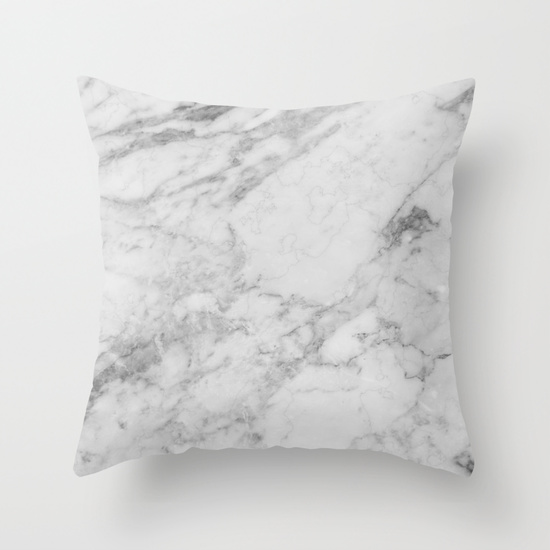 WHITE MARBLE Throw Pillow via Society6