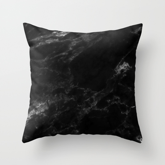 BLACK MARBLE Throw Pillow via Society6