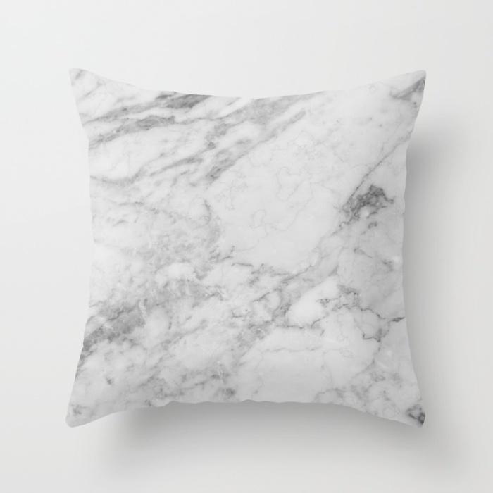 WHITE MARBLE Throw Pillow on Society6.com